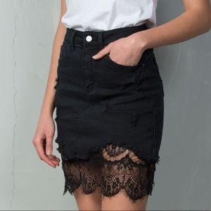 Black & Lace Jean Skirt Denim Skirt with Lace Hem
